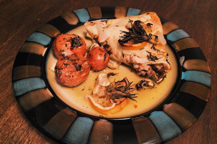 Lemon Rosemary Chicken with Artichoke Plated