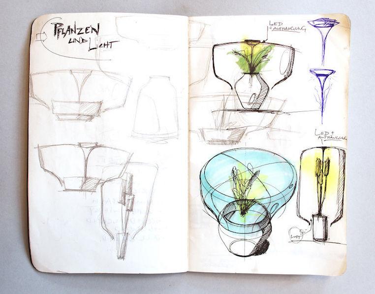 Nui Studio Mygdal Plant Lamp Concept Sketches