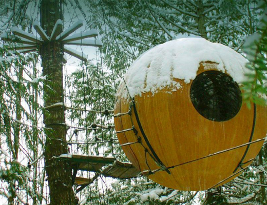 Free Spirit Spheres tree house snow