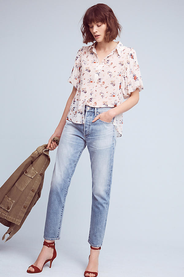 Anthropologie Dellaroe Floral Buttondown