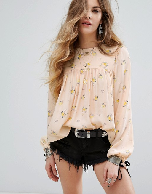 Asos Nobody's Child Smock Top In Ditsy Floral With Contrast