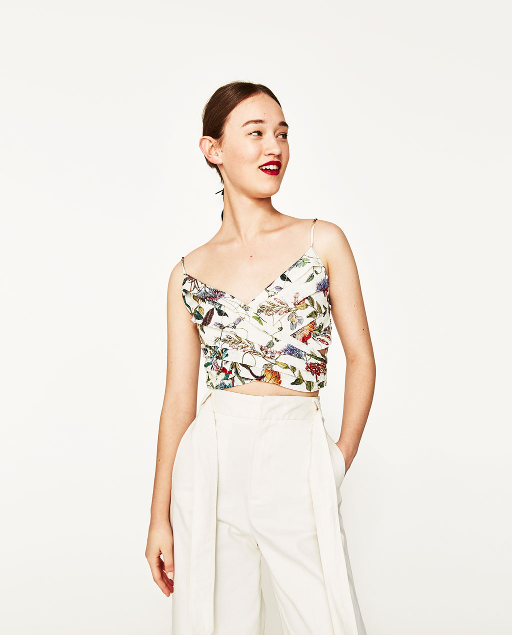 Zara Draped Floral Print Top