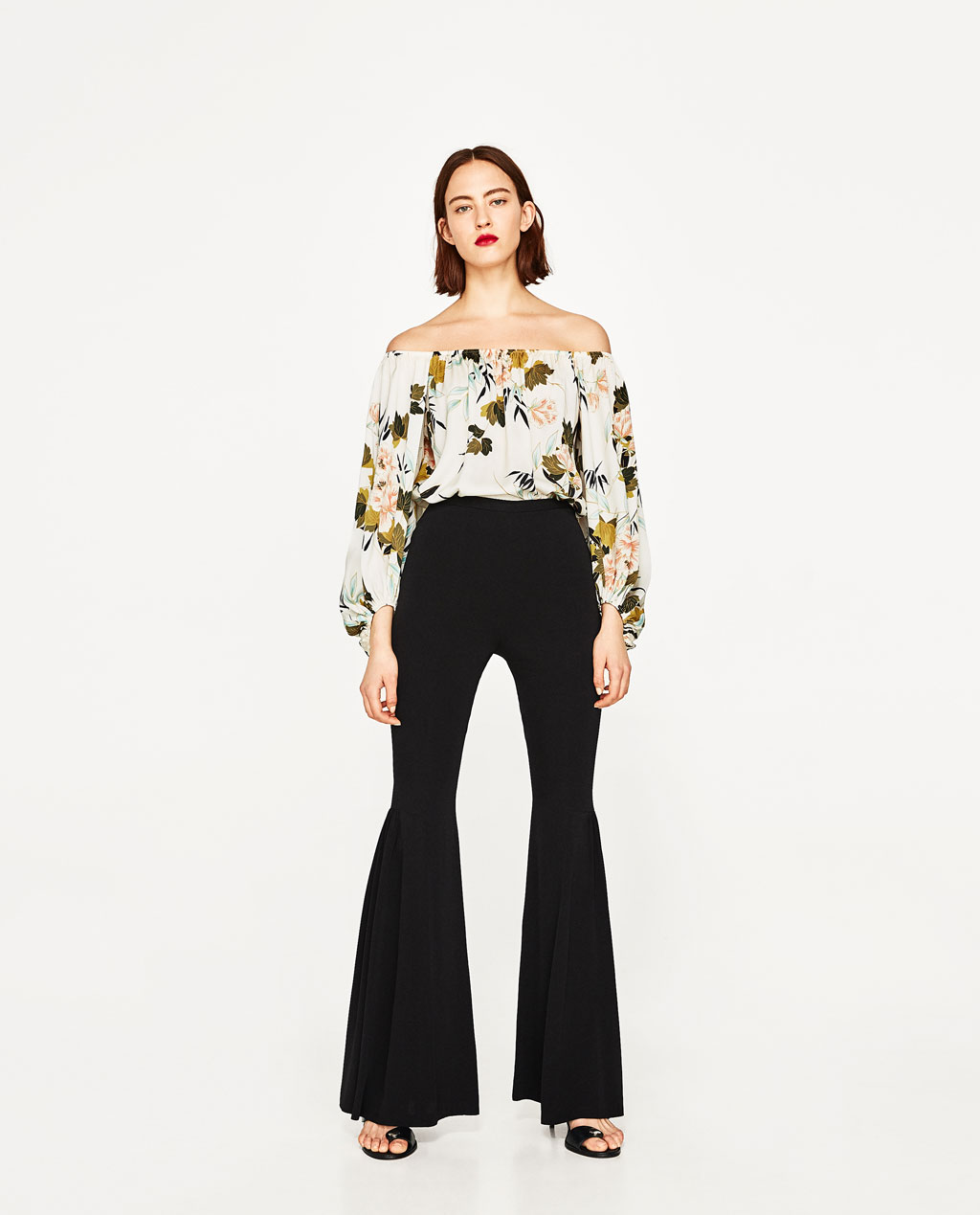 Zara Floral print bodysuit with puffy sleeves