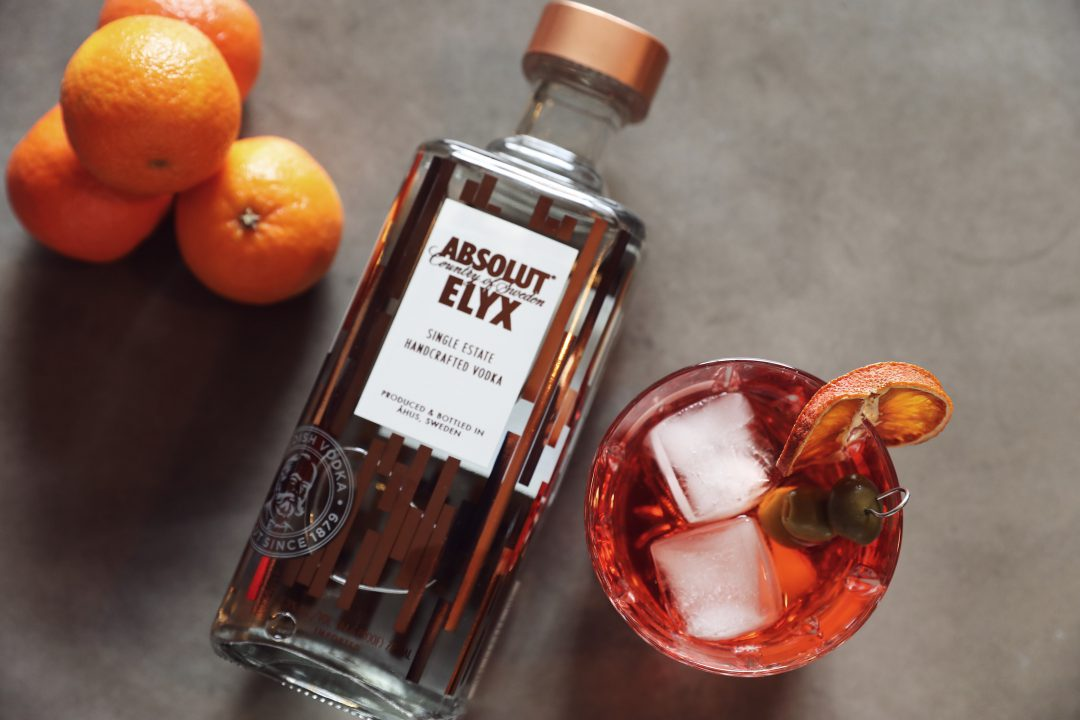 Absolut Elyx Tangerine Olive Cocktail