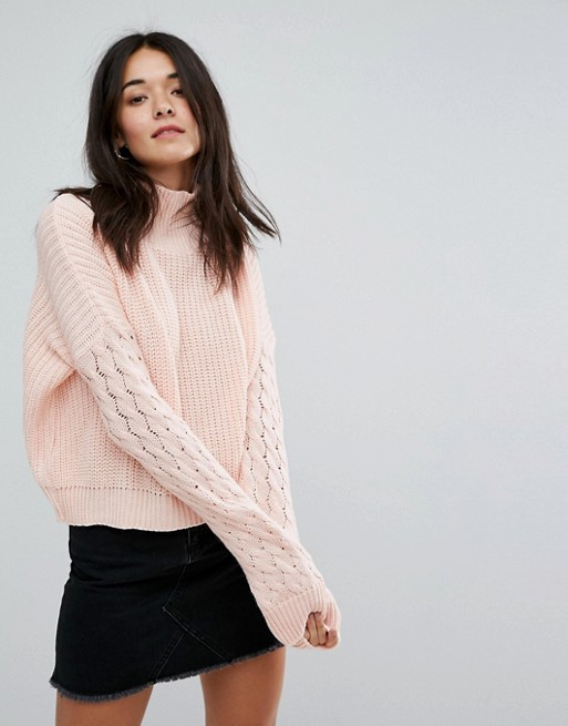 Glamorous High Neck Sweater With Cable Stitch Sleeves