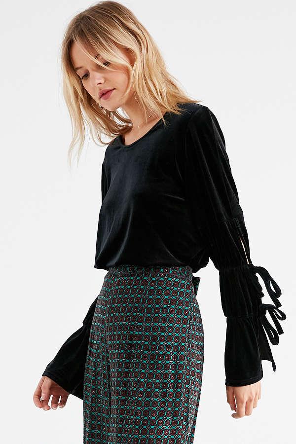 Lucca Couture Elizabeth Velvet Tie Sleeve Top