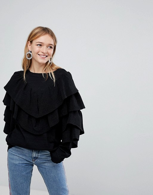 Monki Sparkle Ruffle Sweater