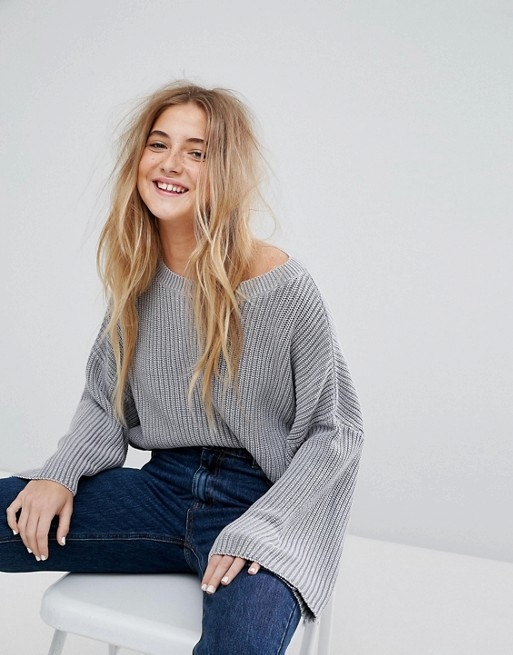 Pull&Bear Ribbed Crop Sweater