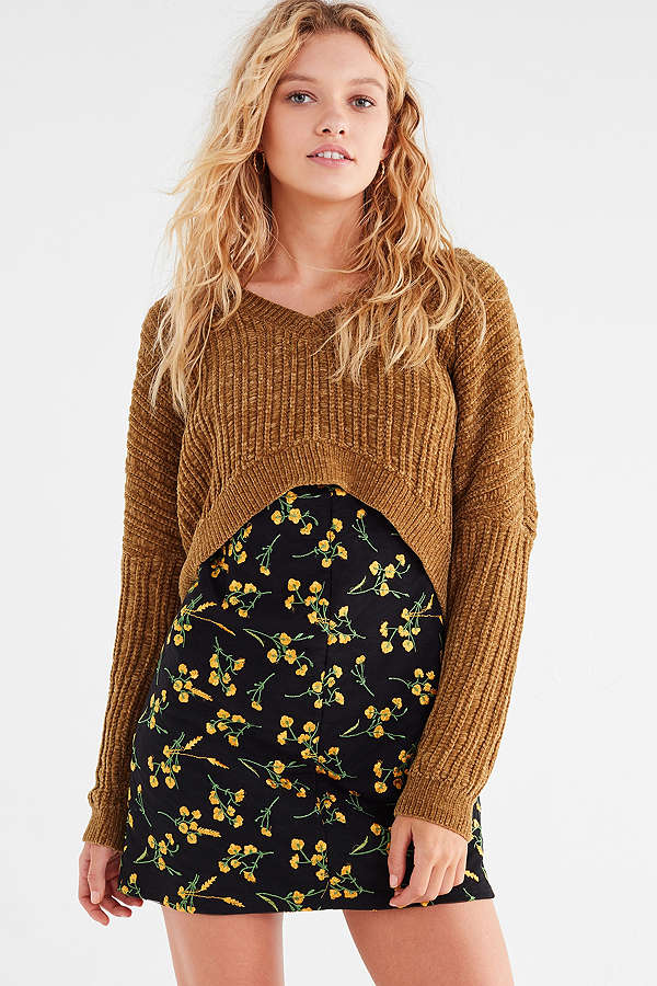 Silence Noise Slouchy Chenille High:Low V-Neck Sweater