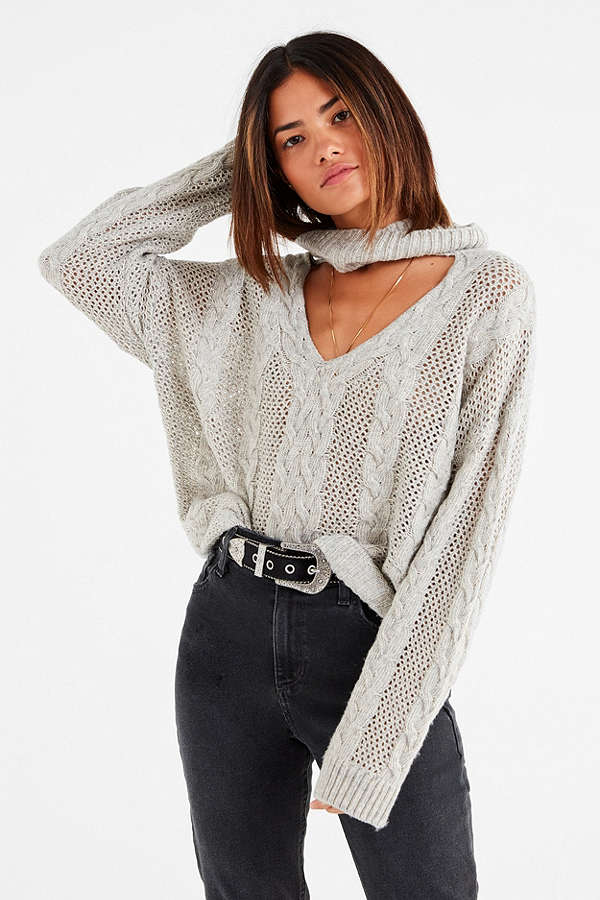 UO Cable Knit Cut-Out Sweater