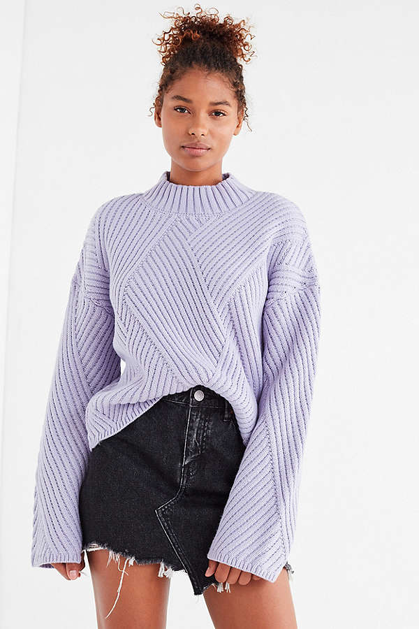 UO Mock-Neck Zig Zag Ribbed Sweater