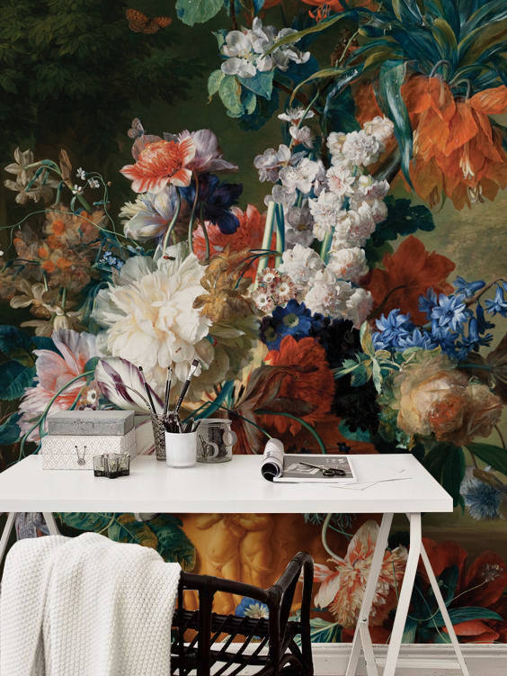 BlueDecorMurals Dutch Floral Mural Wallpaper