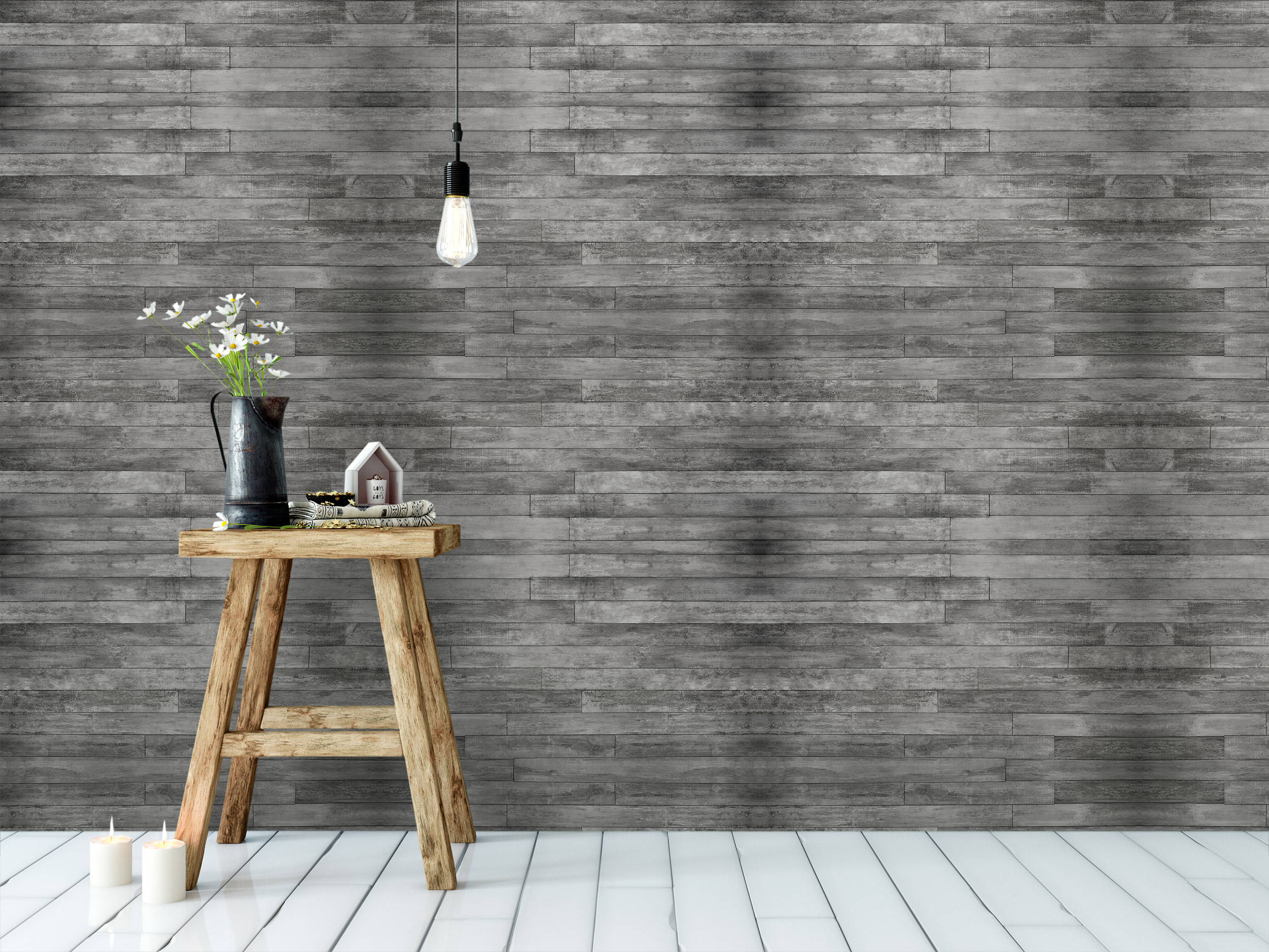 CostaCover Distressed Rustic Wood Plank Wallpaper