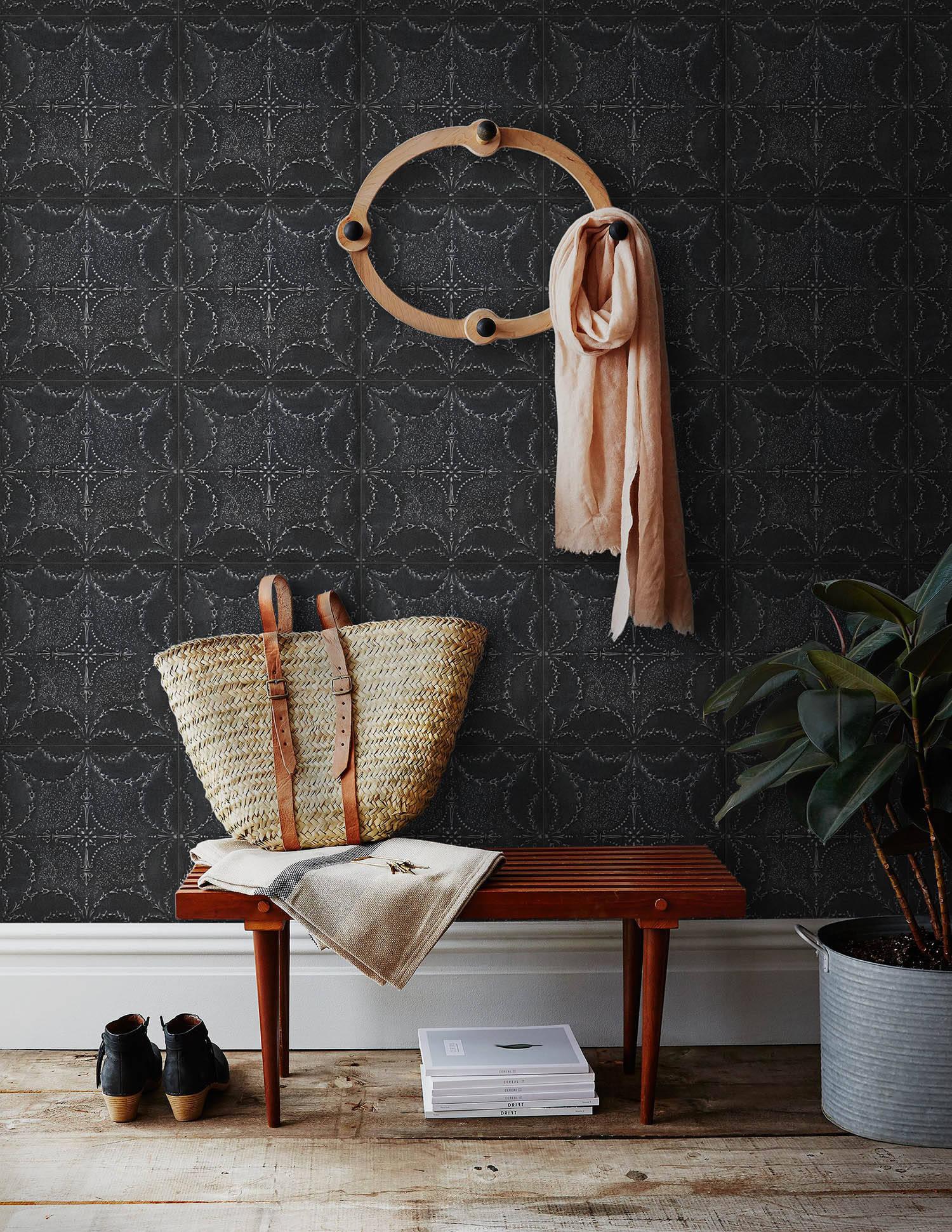 DecoWorks Black Tin Tile Wallpaper