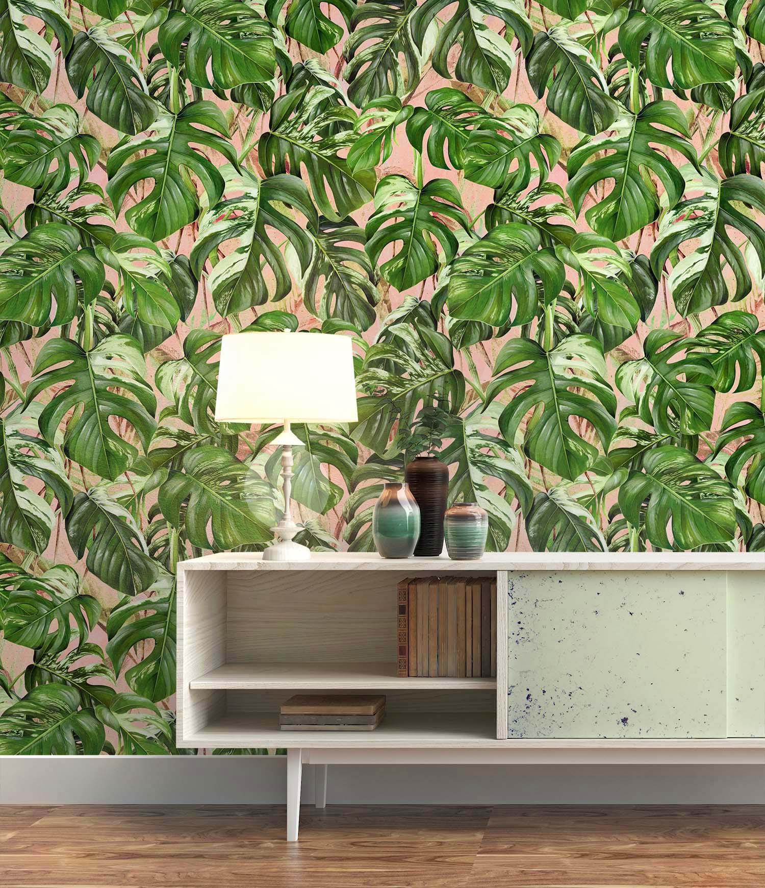 DecoWorks Palm Leaf Pink Pastel Wallpaper