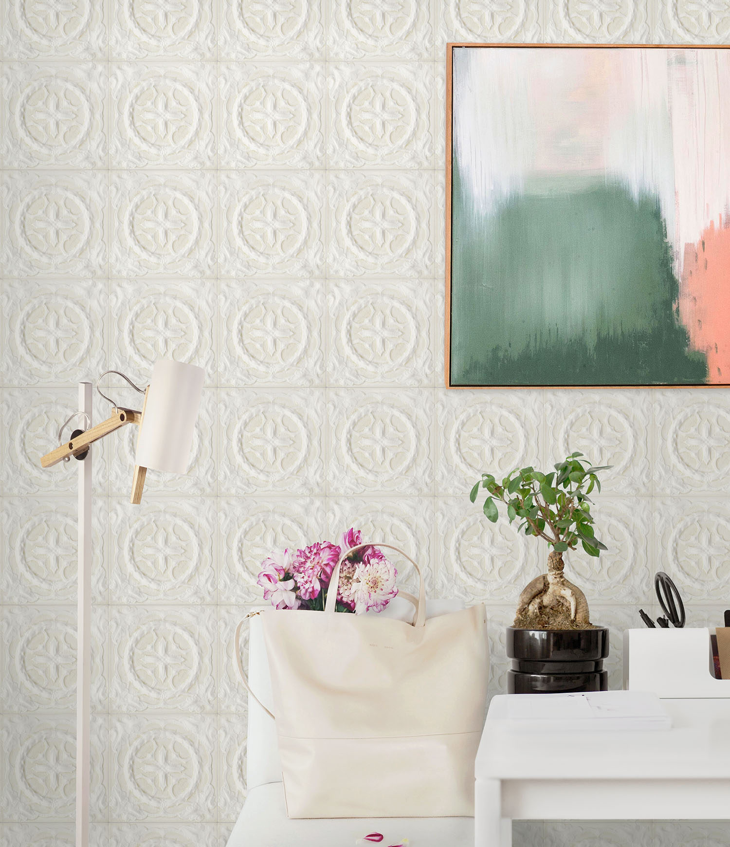 DecoWorks White Victorian Tile Wallpaper