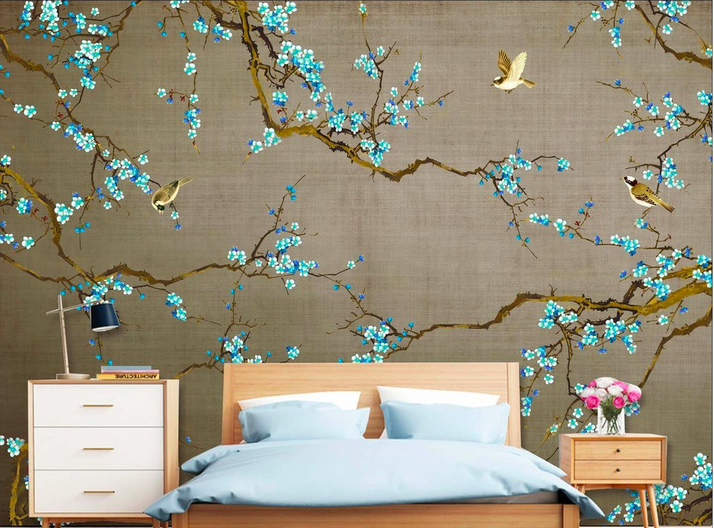 DreamyHomeCo Turquoise Plum Blossoms Wallpaper