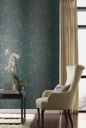 Handcrafted360 Budding Branches on Tranquil Blue Green Wallpaper