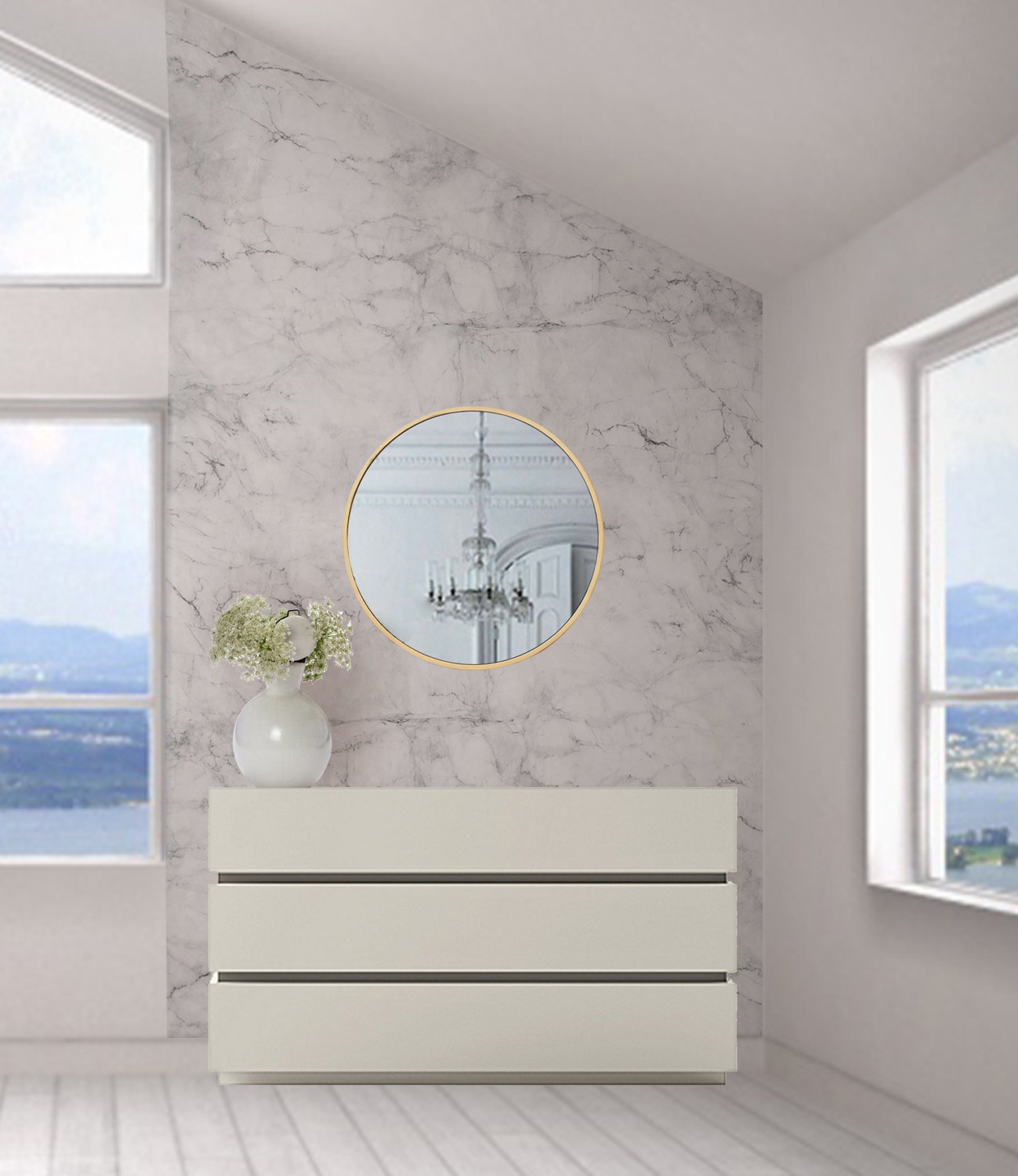 ModernMatches Grey and White Marble Wallpaper