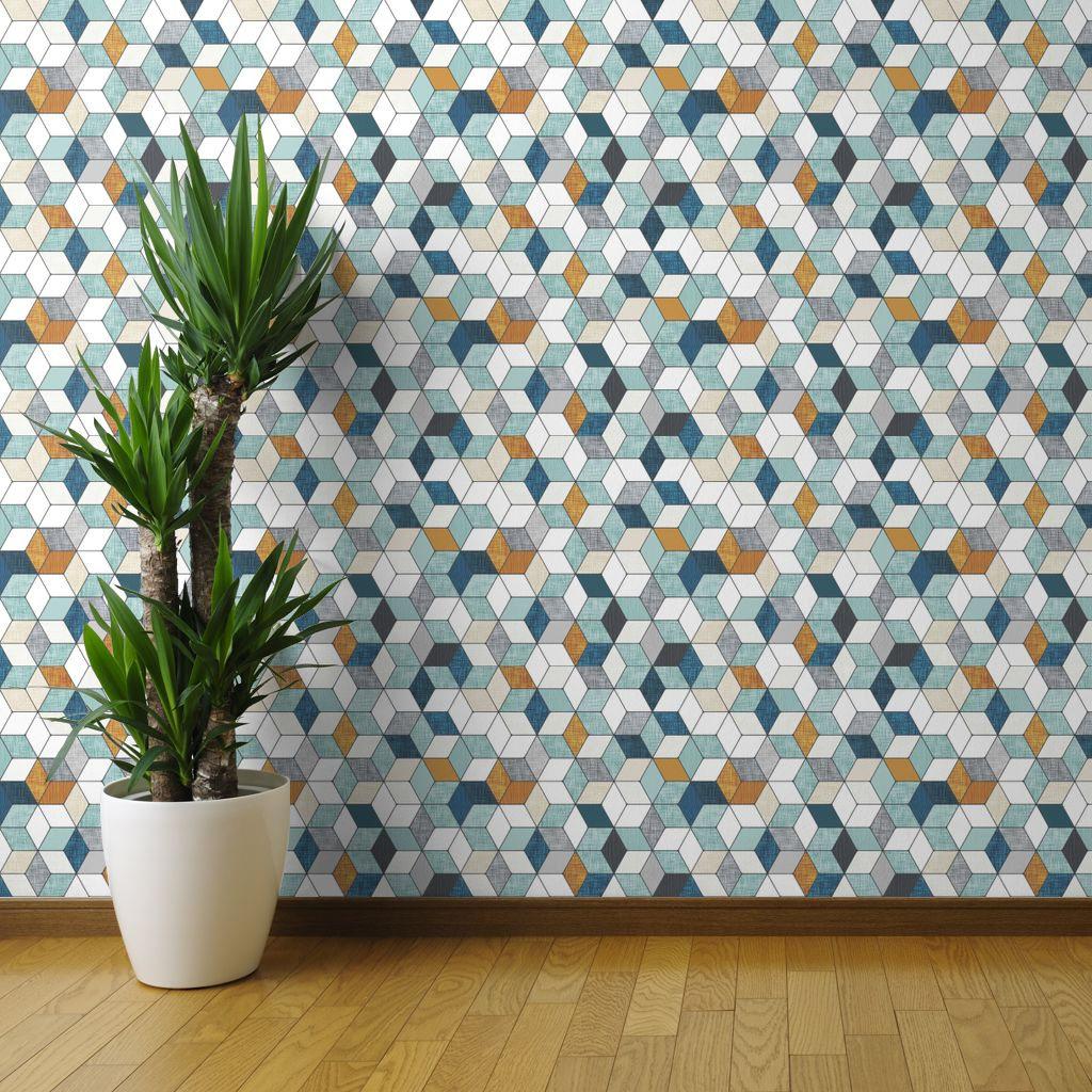 Spoonflower Geometric Hexagon Wallpaper