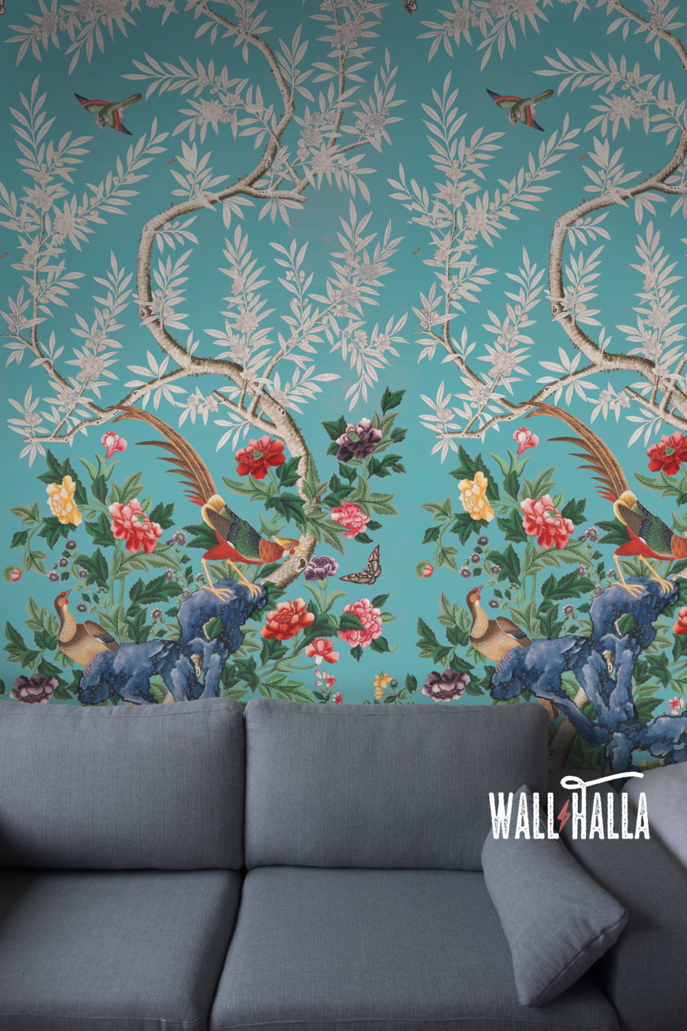 WallHalla Chinoiserie Teal Florals Wallpaper