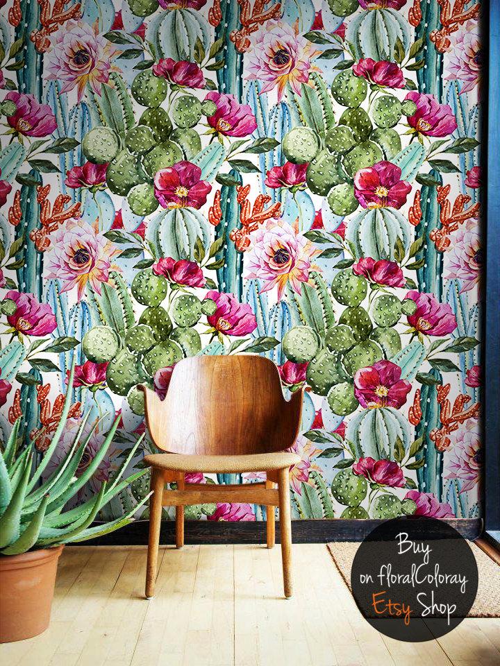 floralCOLORAY Cactus Flowers Wallpaper