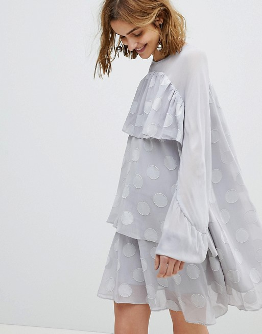 ASOS Lost Ink Smock Dress With Sheer Spot Layers