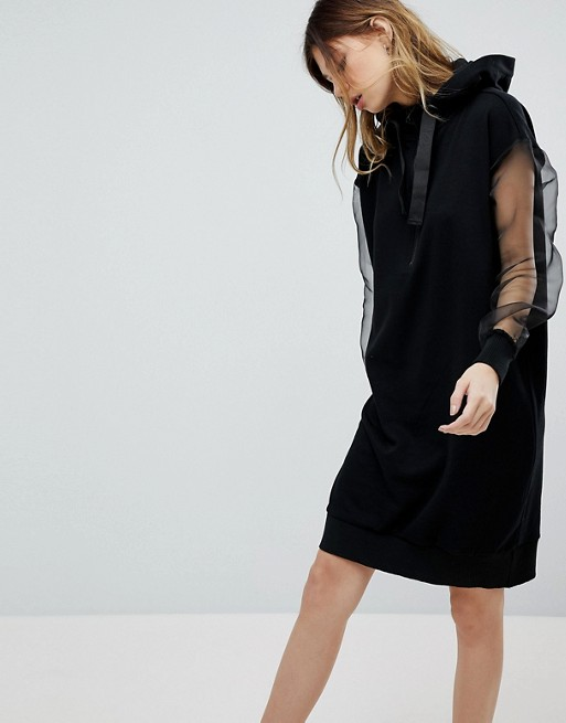 ASOS Noisy May Hoody Dress With Sheer Sleeves