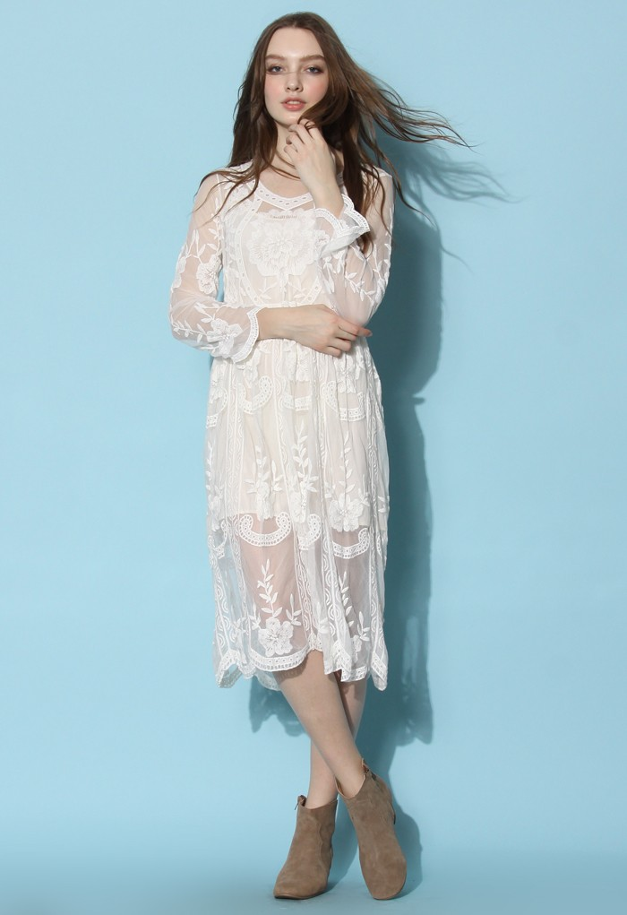 Chic Wish Boho Breeze Sheer Lace Dress