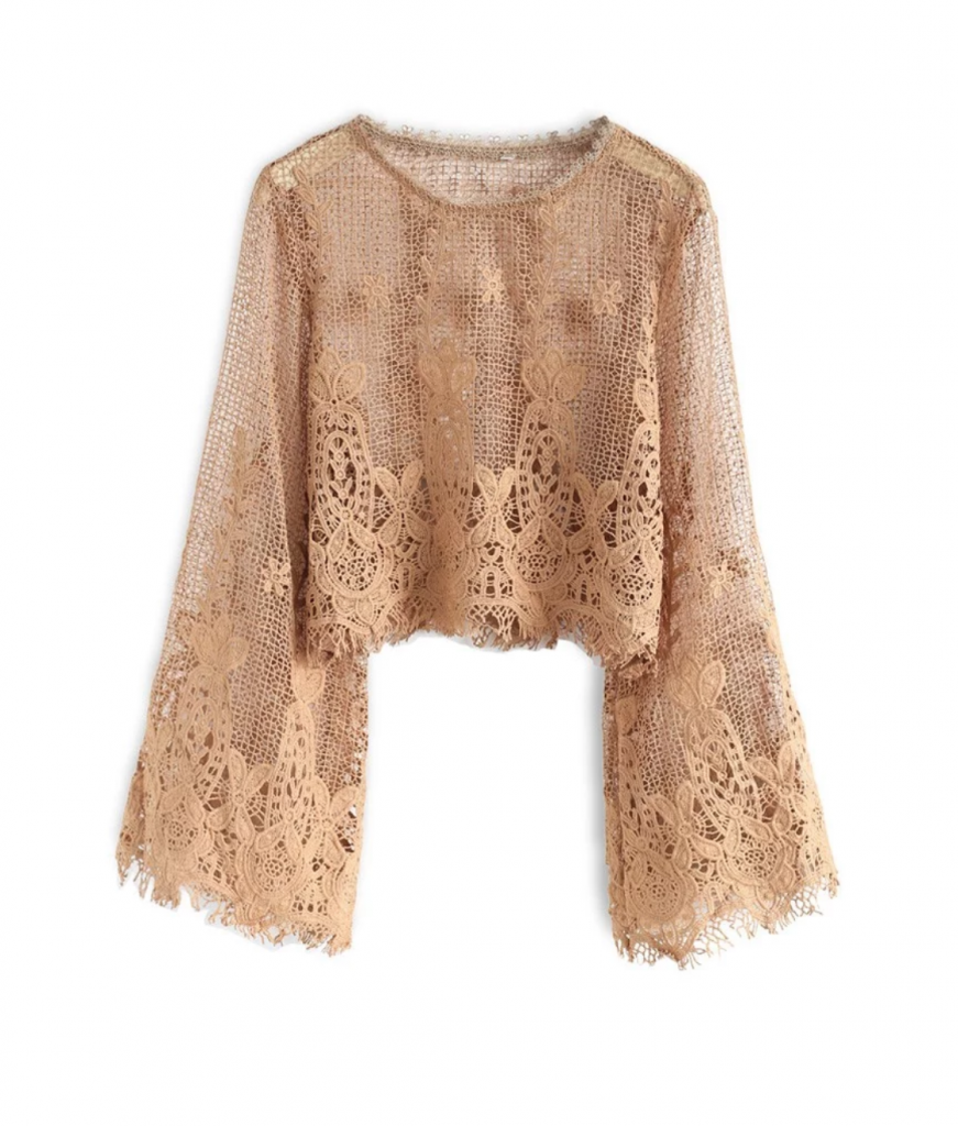 Chic Wish Flowering Mesh Crochet Top in Caramel