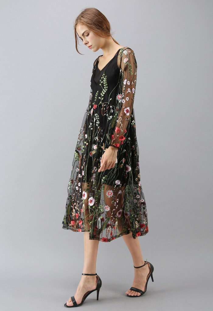 Chic Wish Lost in Flowering Fields V-Neck Embroidered Mesh Dress in Black