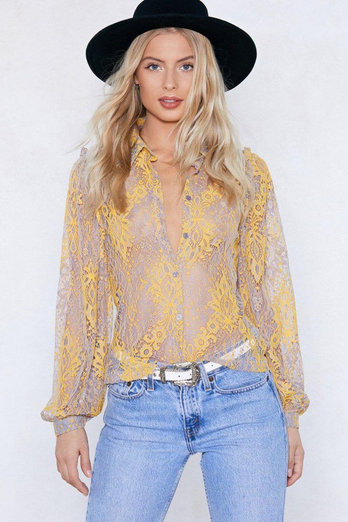 Nasty Gal Sheer Me Through Lace Shirt