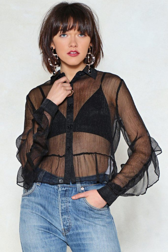 Nasty Gal Sheer Thing Honey Ruffle Blouse