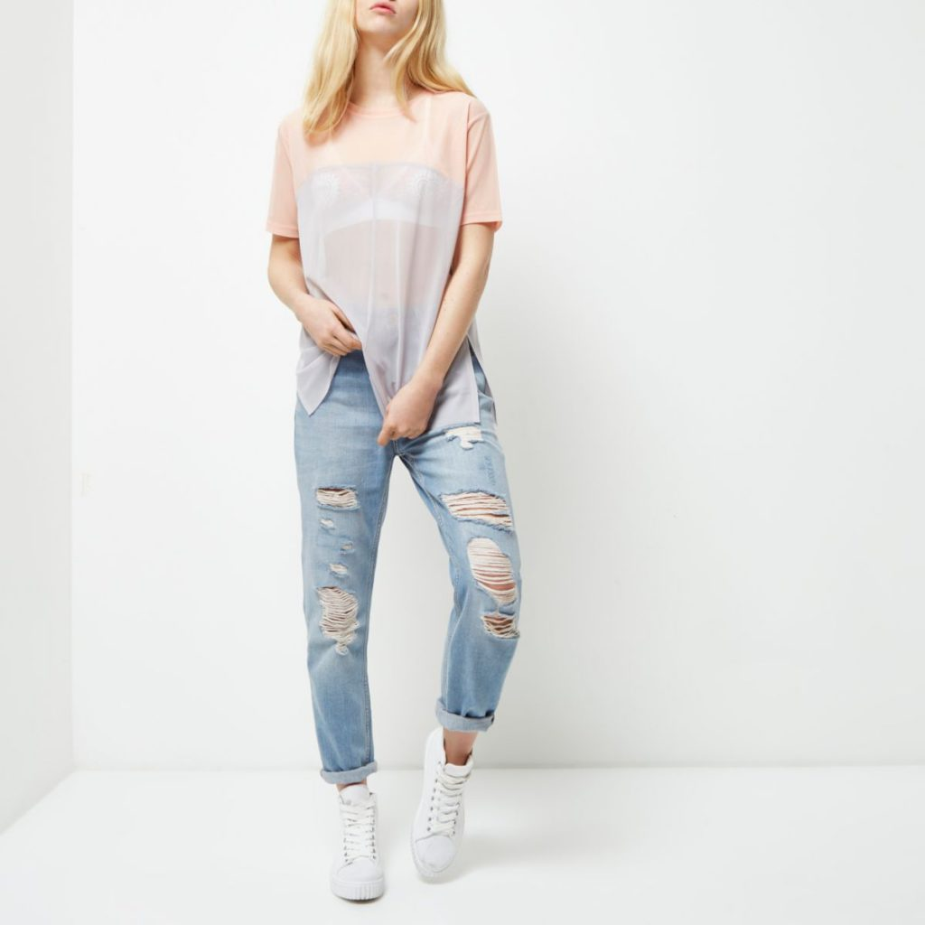 River Island Pink Mesh Color Block Oversized T-shirt