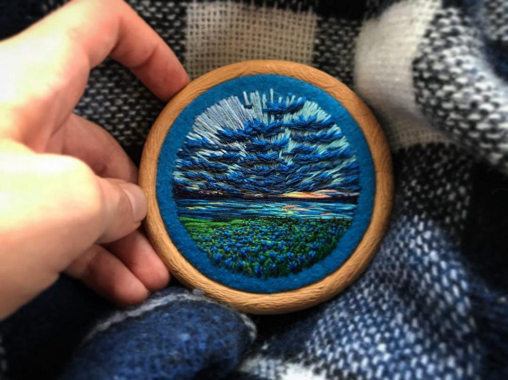 Vera Shimunia Cross Stitching Iris Field