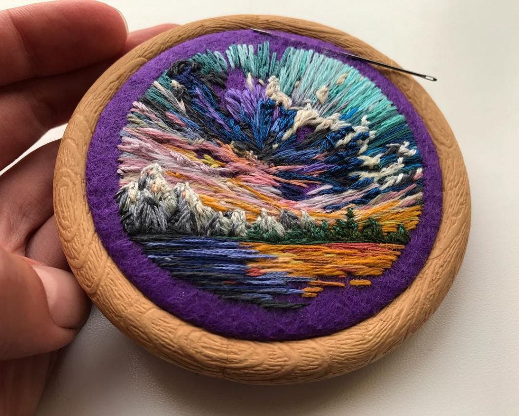 Vera Shimunia Cross Stitching Purple Sunset