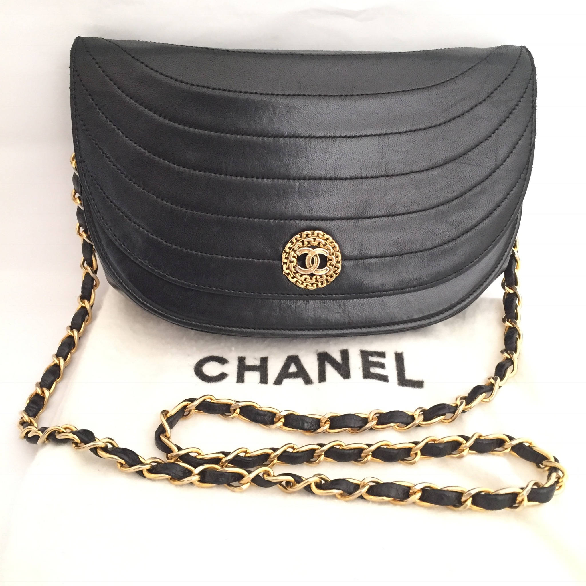 CatStreetVintage Chanel Black Quilted Shoulder Bag