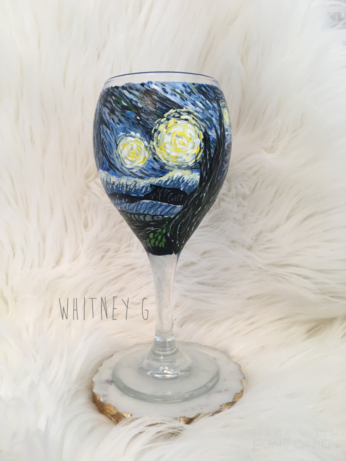 TheWhitneyG Starry Night Van Gogh Wine Glass