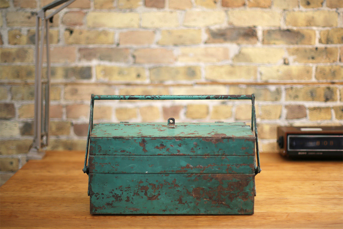 jeglova Vintage Industrial Green Metal Toolbox