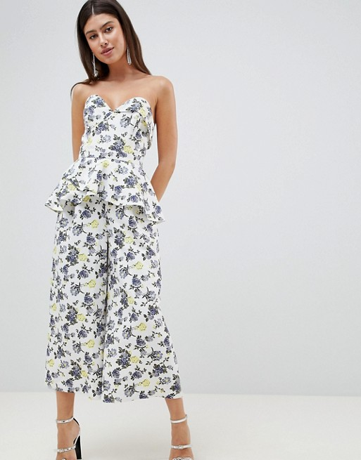 ASOS DESIGN occasion structured bandeau jumpsuit in structured floral