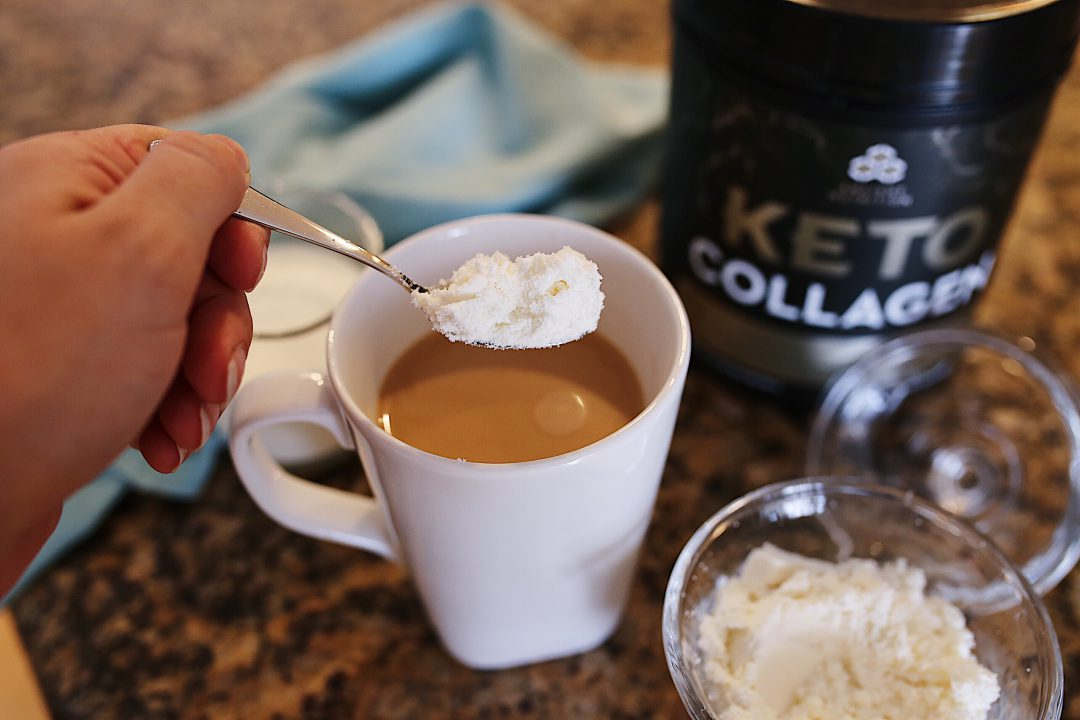 Ancient Nutrition Keto Collagen into Coffee