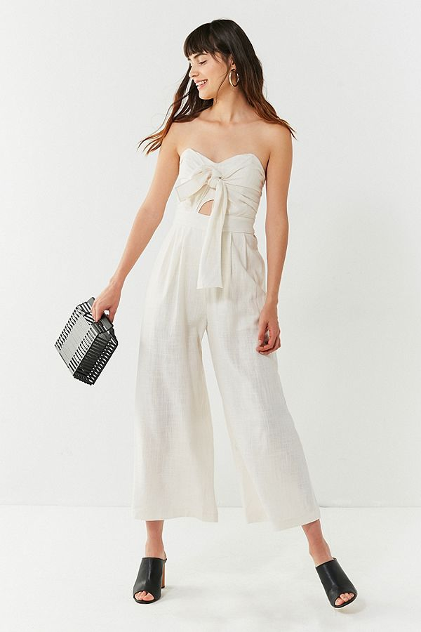 URBAN OUTFITTERS ASTR The Label Mara Tie-Front Linen Jumpsuit