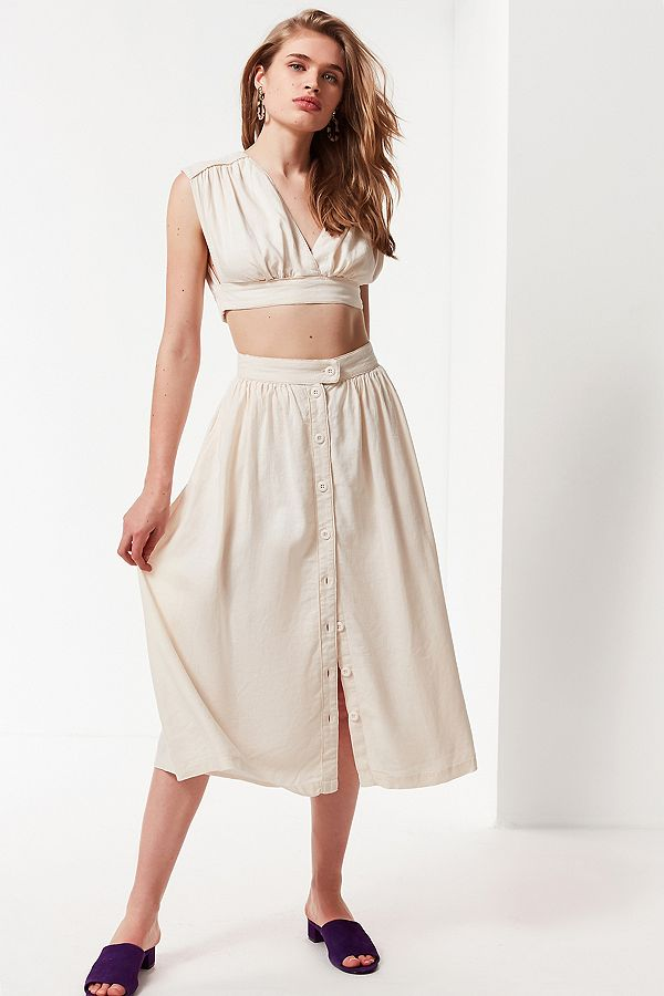 URBAN OUTFITTERS UO Arianna Button-Down Midi Skirt