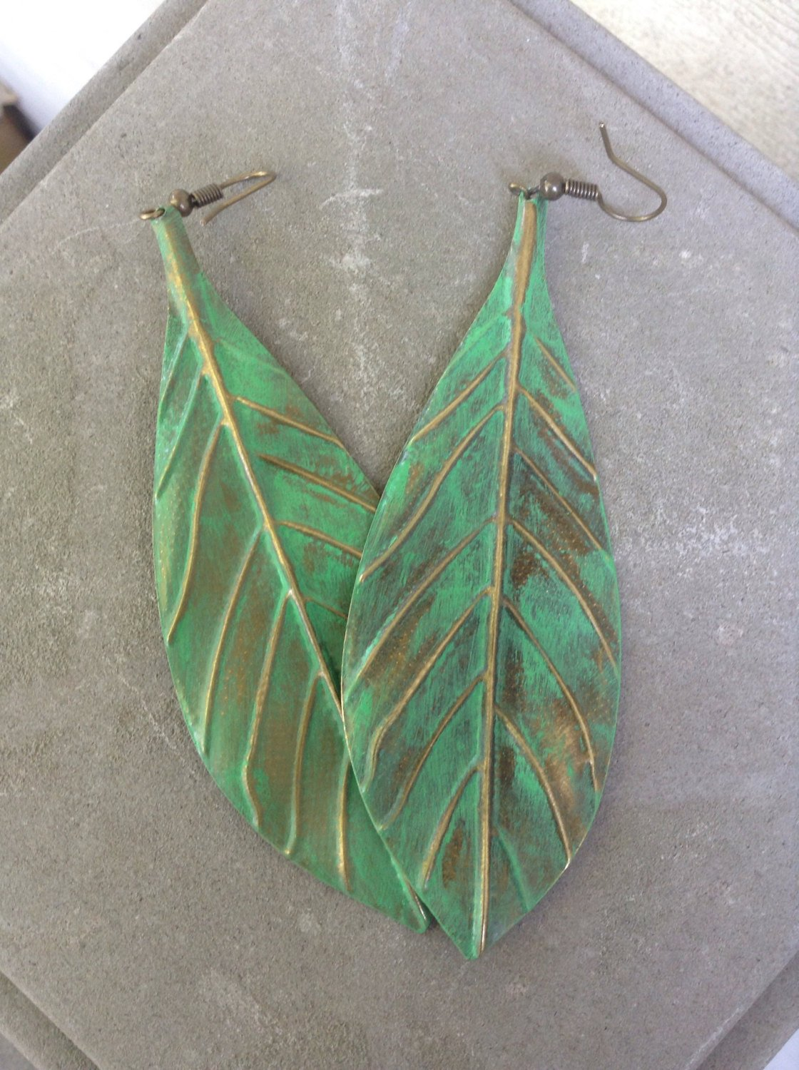 1OfRosasPetals green bronze leaf earrings