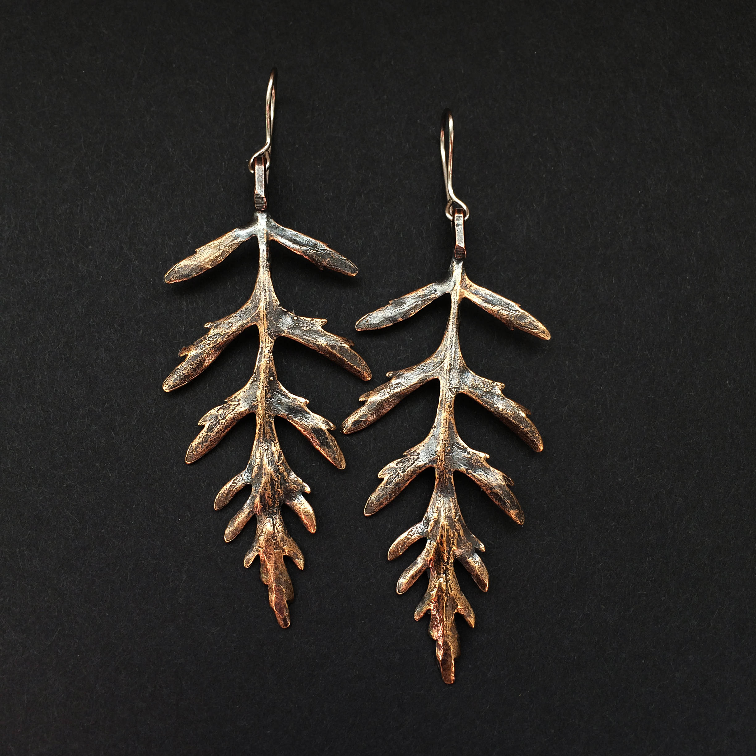 JamieSpinello bronze Artemis leaf earrings