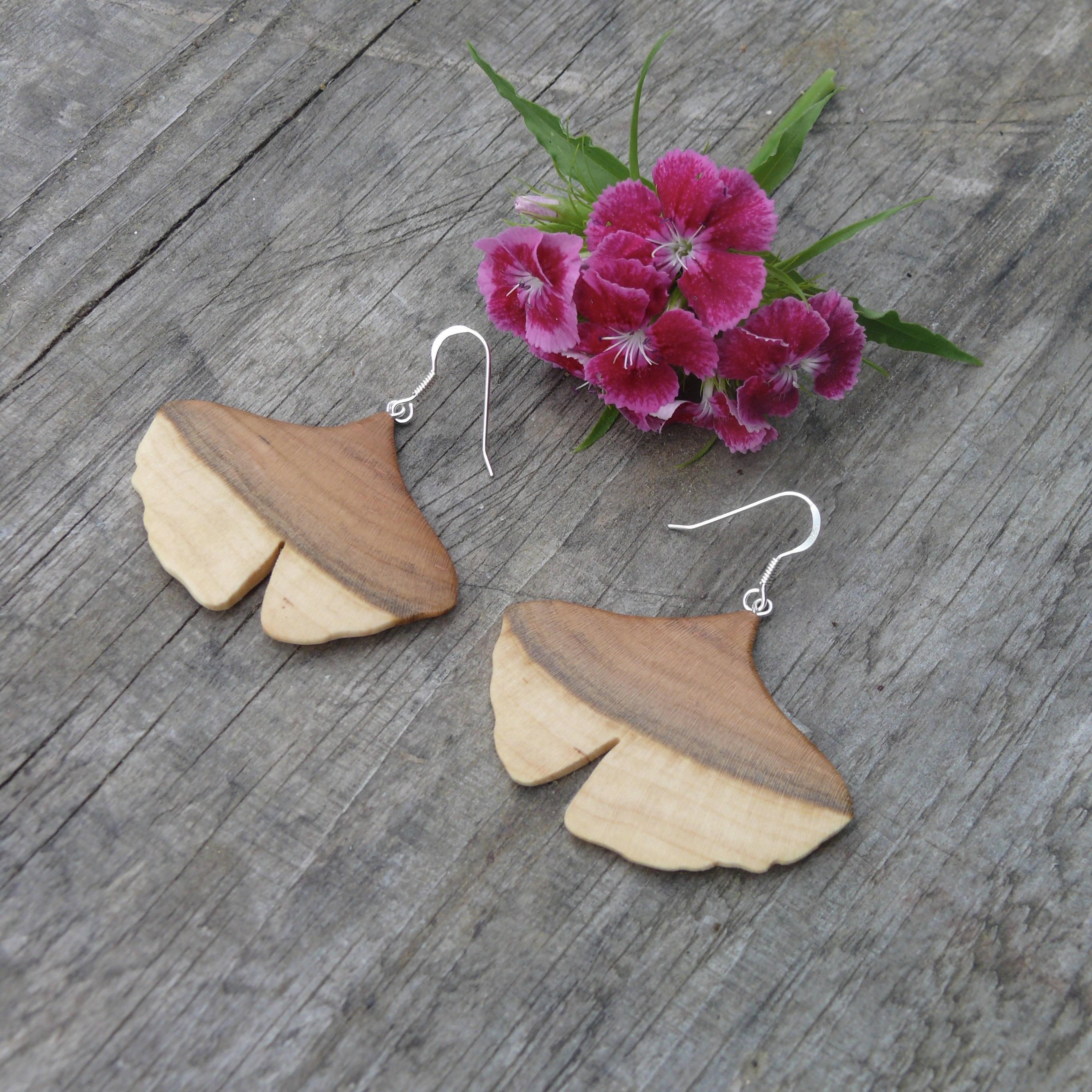 JemKlein wood ginko leaf earrings