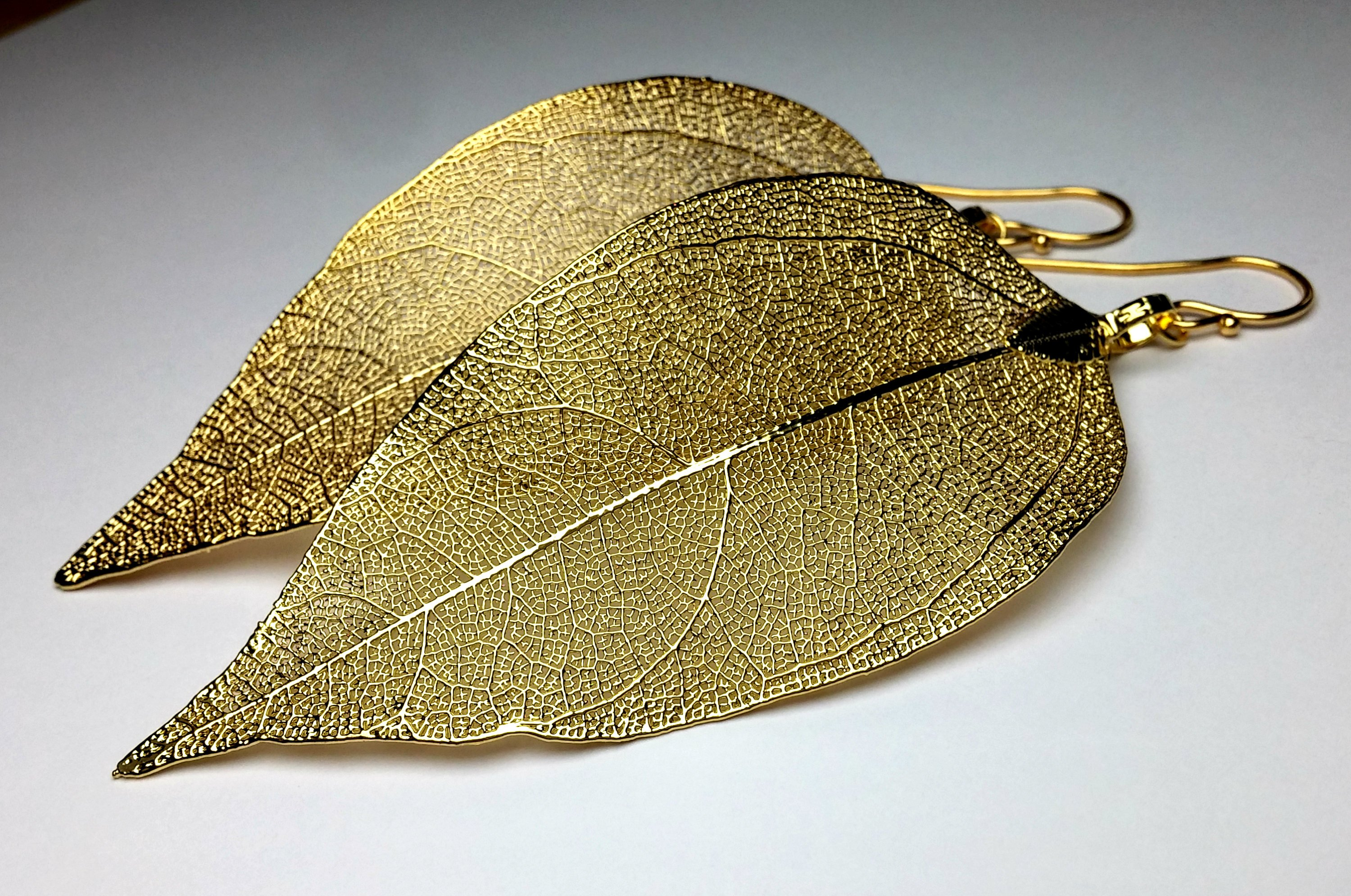KarousosJewelry real leaf skeleton earrings gold
