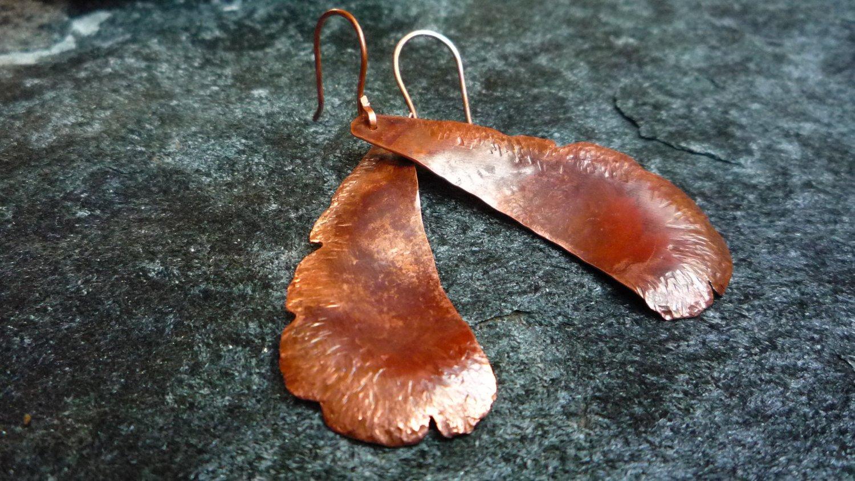 MarbeyaJewelry hammered copper leaf earrings