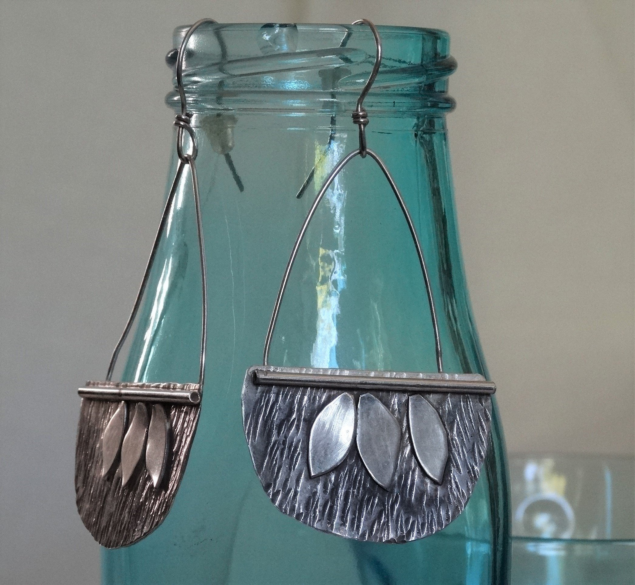 MinaluDesigns hammered blackened sterling silver leaf earrings