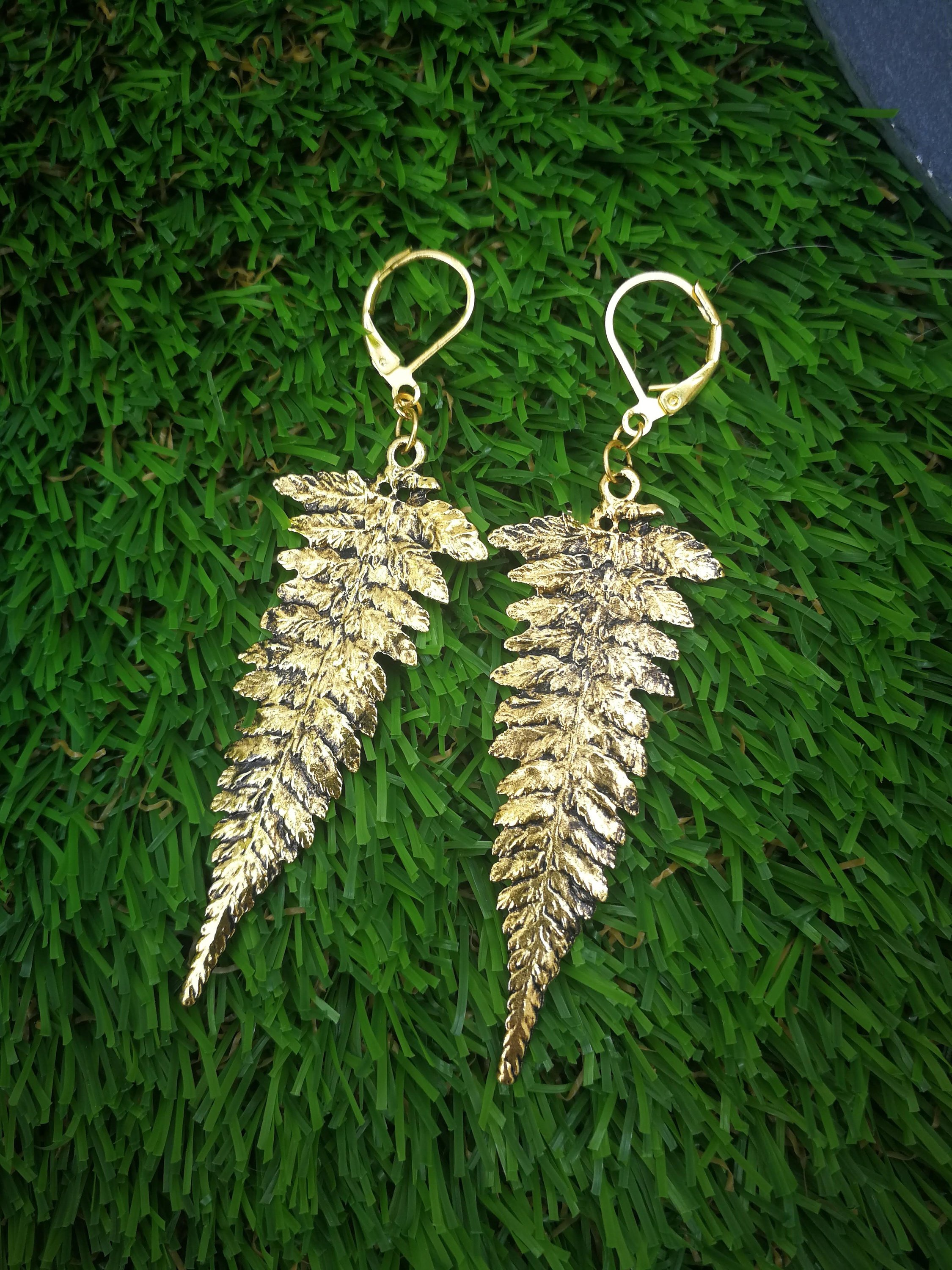 ValkyriesSong gold leaf fern earrings